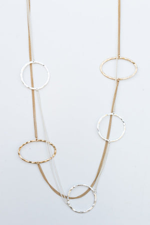 Long Silver and Gold Layered Disk Necklace