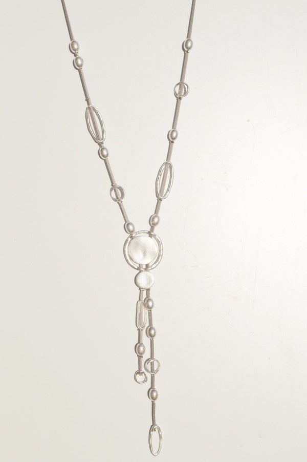 Silver Grey Abstract Necklace With Silver Charms