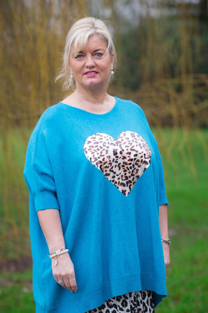 Teal Leopard Heart Jumper