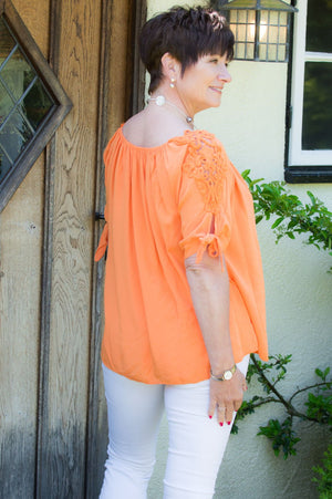 Orange Off-The Shoulder Crochet Detail Blouse