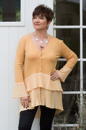 Mustard Button-Up Layered Pleated Jumper