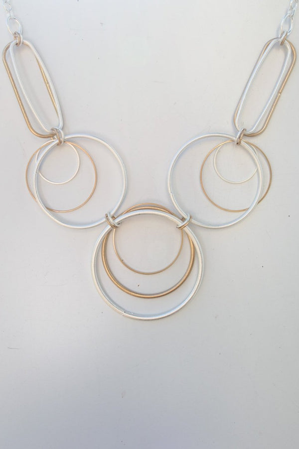 Short Gold and Silver Pearlescent Ring Necklace