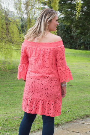 Coral Crochet Of-The-Shoulder Frill Top