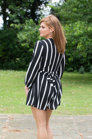 Black and White Striped Playsuit - Mandy's Heaven