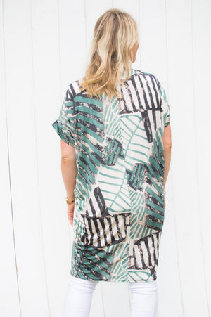 Turquiose Abstract Stripe Zip Top/Dress