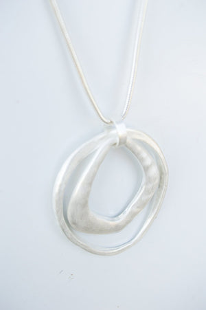 Long Silver Double Oval Necklace