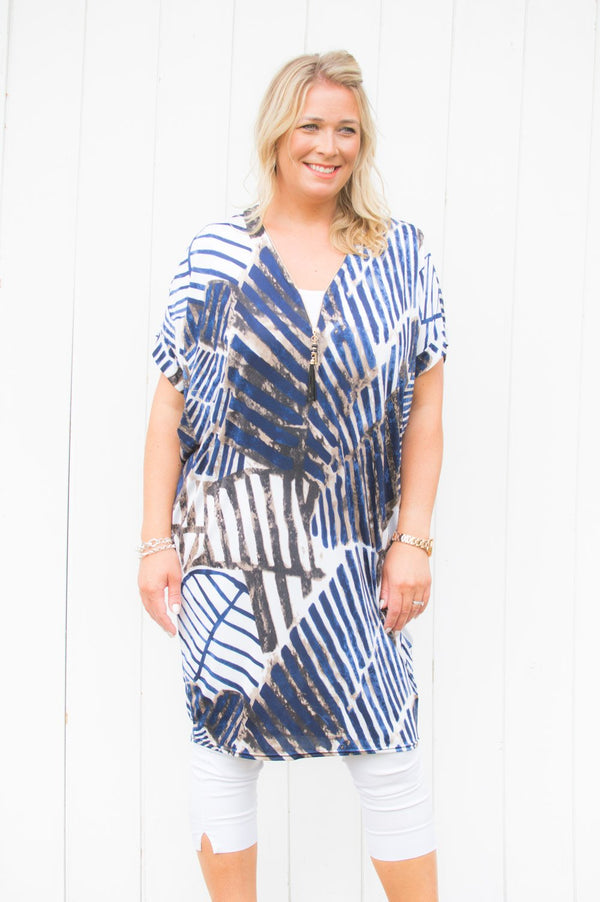 Blue Abstract Stripe Zip Top/Dress