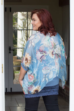 Light Blue Floral Cross Over Silk Blouse