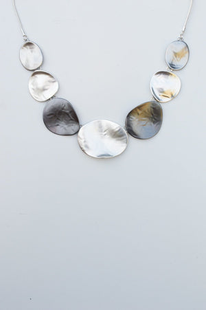 Silver and Grey Short Abstract Pendant Necklace