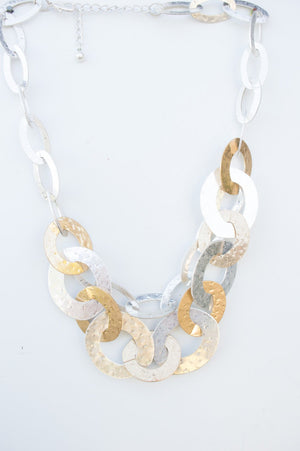 Short Silver & Gold Linked Chain Necklace
