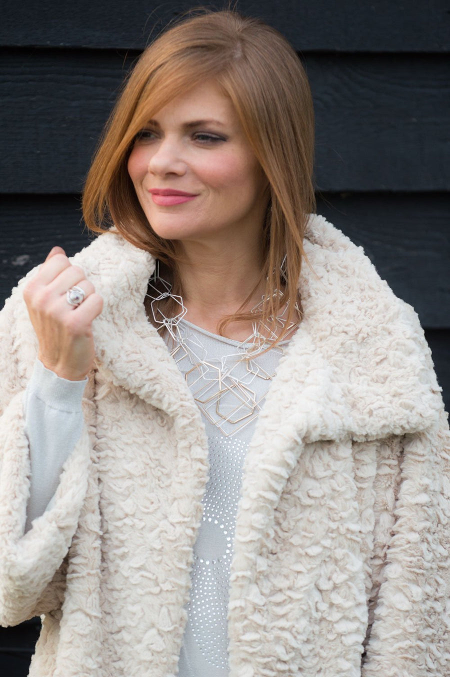 VIP - Cream Faux Fur Jacket