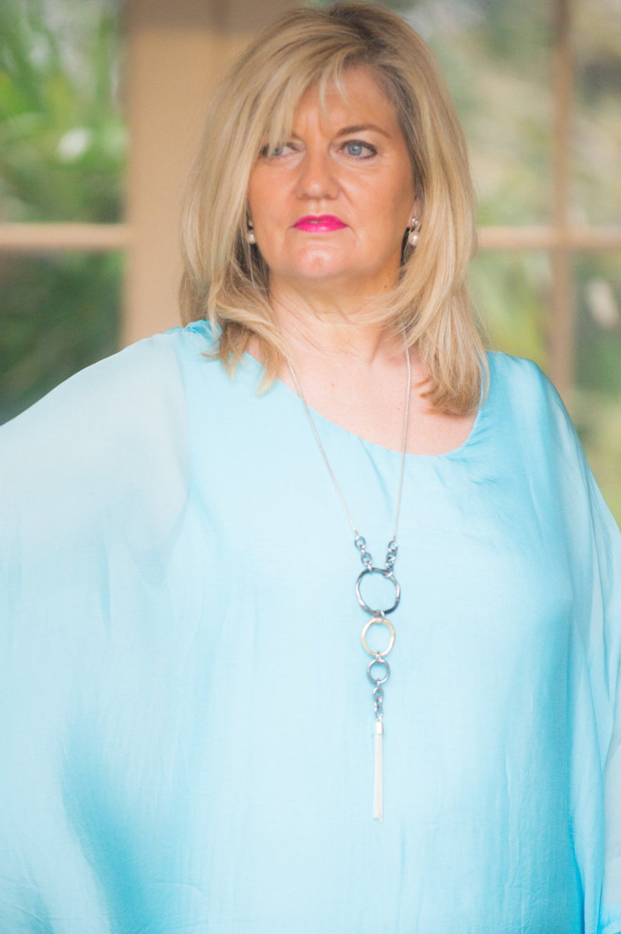 Aqua Blue Silk Floaty Waterfall Top