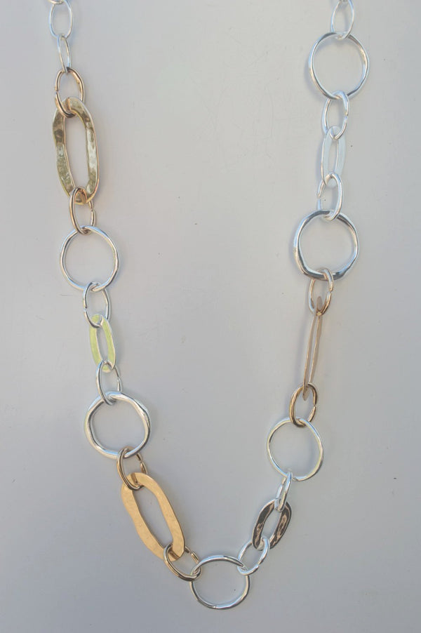 Long Silver and Gold Ring Chain Necklace