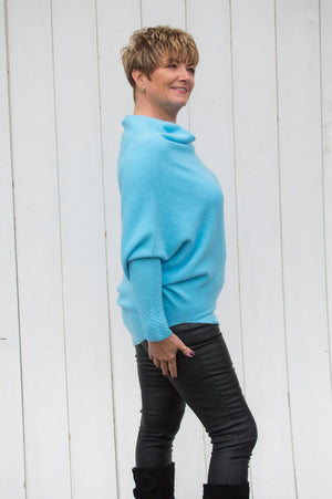 Aqua Blue Asymmetric Jumper