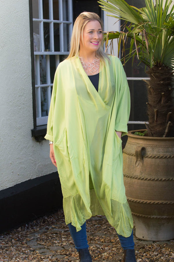 Lime Cross-Over Silk Tunic Curve