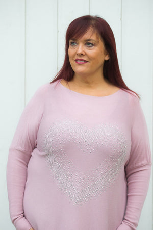 Dusty Pink Heart Gem Embellished Jumper