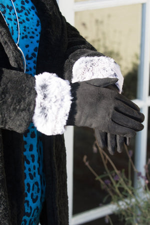 Black Faux Suede Faux Fur Trim Gloves - Mandy's Heaven