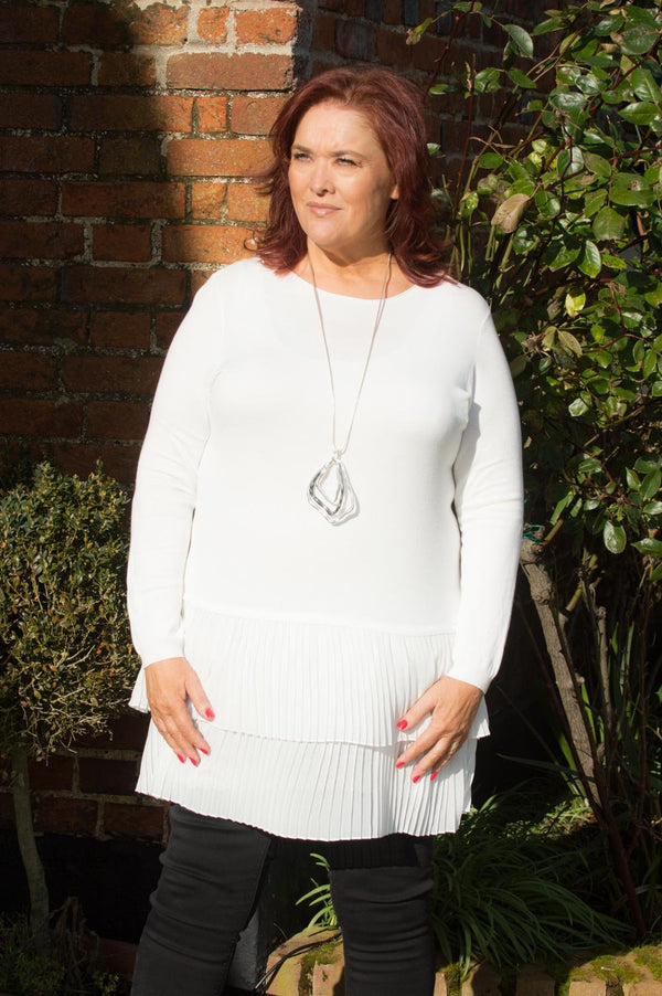 White Pleated Frill Midi Jumper