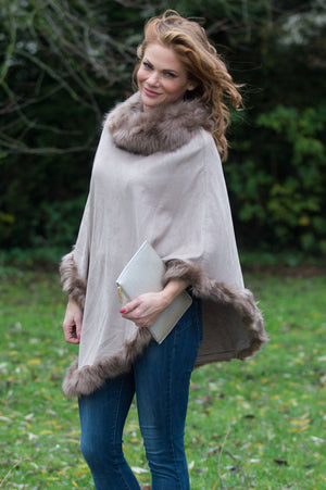 VIP - Roasted Almond Suedette and Faux Fur Poncho