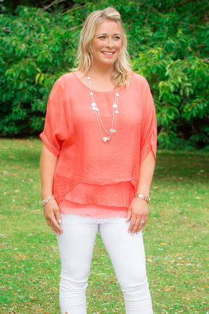 Coral Layered Batwing Blouse