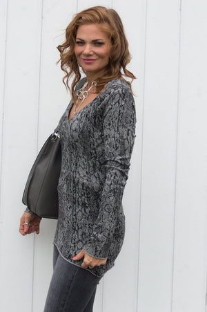 Grey V Neck Snake Print Top