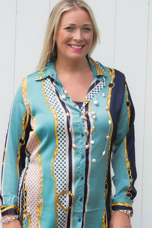 Teal, Navy & Pink Multi Print Shirt
