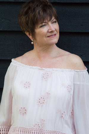 Light Pink Floral Crochet Silk Blouse