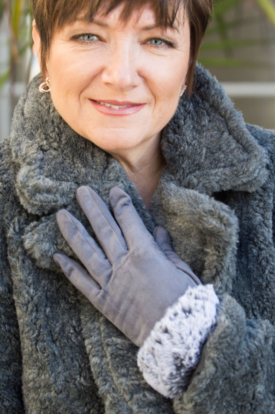 Slate Grey Faux Suede Faux Fur Trim Gloves