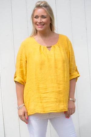 Mustard Gold Detail Linen Top