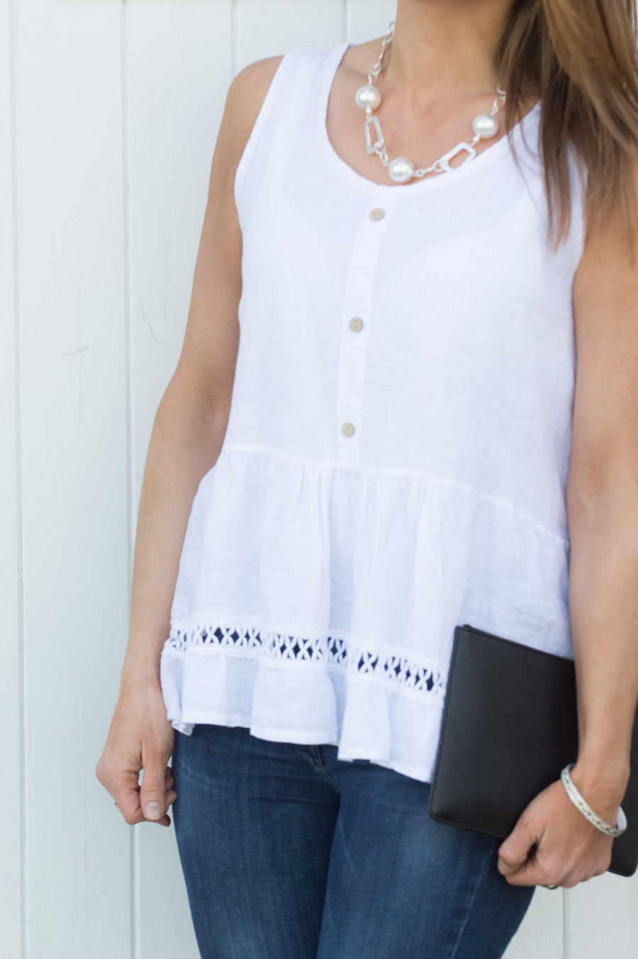 White Linen Button Vest Top