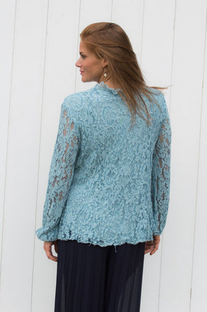 Light Blue Ruffle Detail Lace Blouse