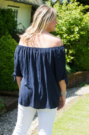 Navy Off-The Shoulder Crochet Detail Blouse