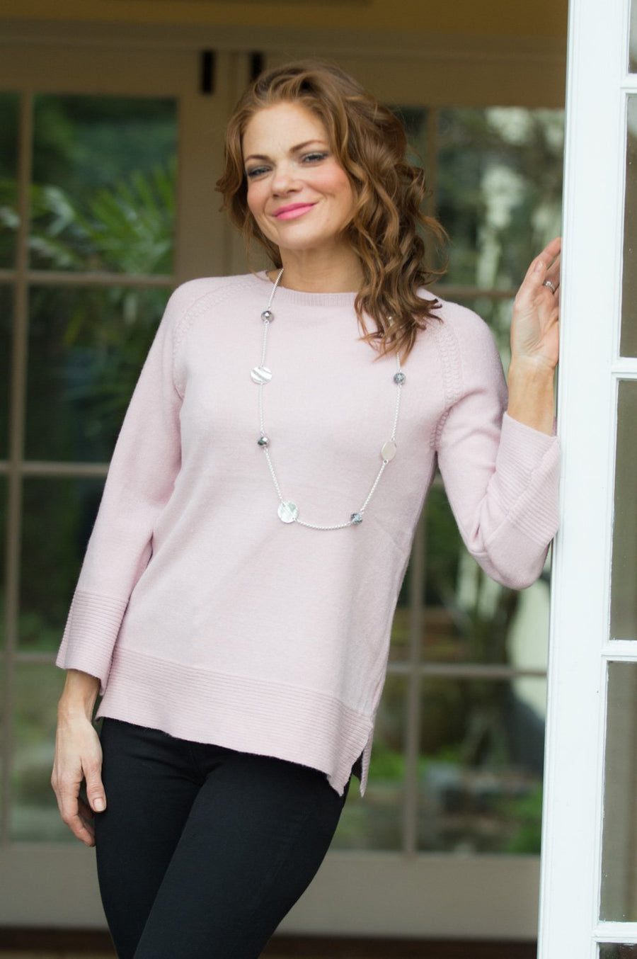 Blush Pink Flare Sleeve Ribbed Jumper - Mandy's Heaven
