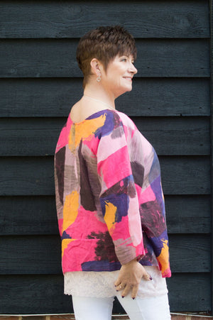 Pink & Orange Abstract Linen Top
