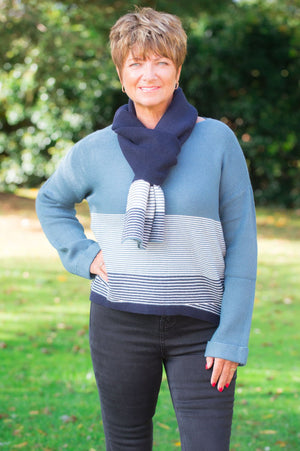 Diesel Blue Striped Jumper & Scarf Set