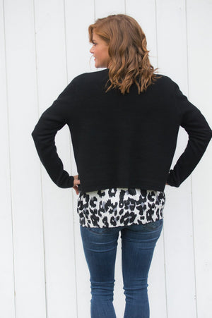 Black Studded Trim Cardigan