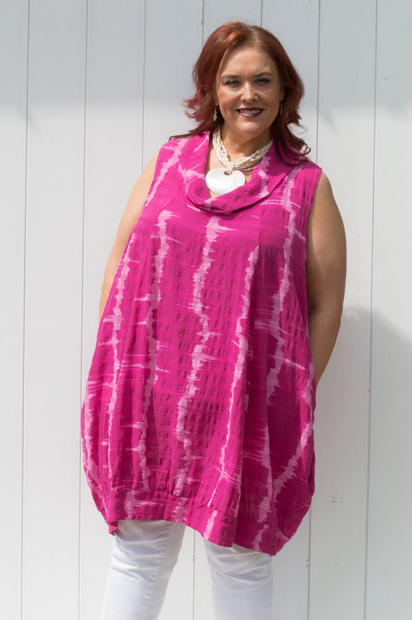 Pink Cowl Neck Tie-Dye Sleeveless Tunic