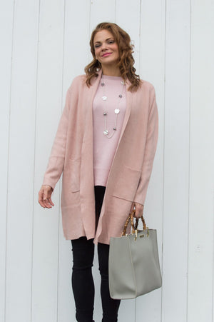 Blush Pink Two Pocket Cardigan - Mandy's Heaven
