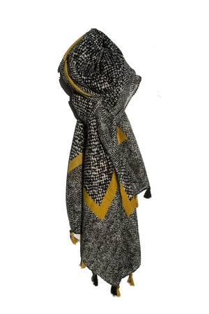 Black and Mustard Abstract Scarf - Mandy's Heaven