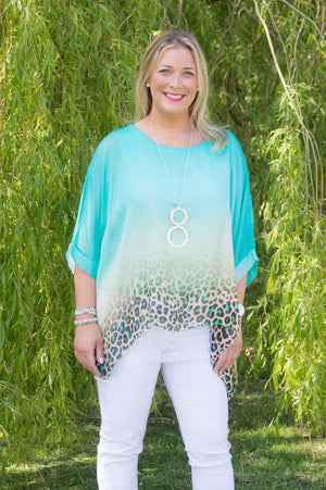 Emerald Ombre Animal Print Silk Blouse