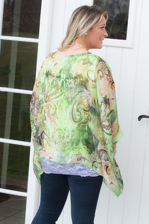 Lime Paisley Waterfall Silk Blouse
