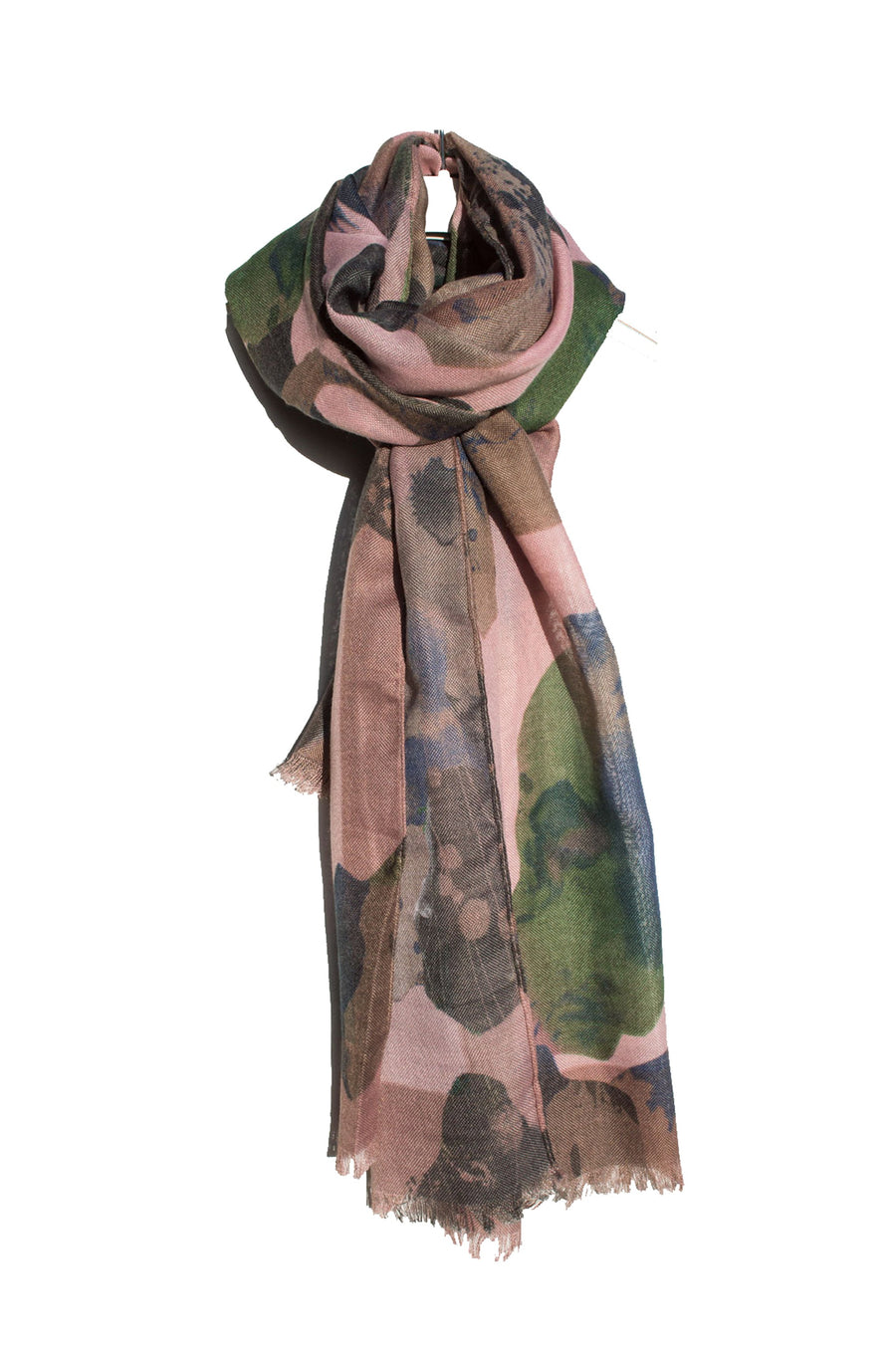 Pink, Blue and Green Watercolour Scarf
