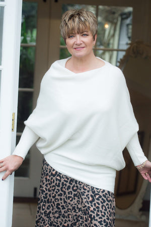 Cream Asymmetric Jumper