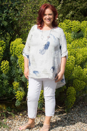 Light Grey & Navy Feather Linen Top