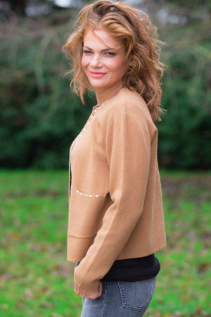Tan Studded Trim Cardigan