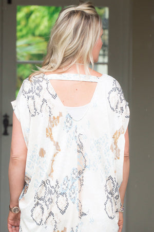 Beige & Blue Snake-Print Tapered Top/Dress