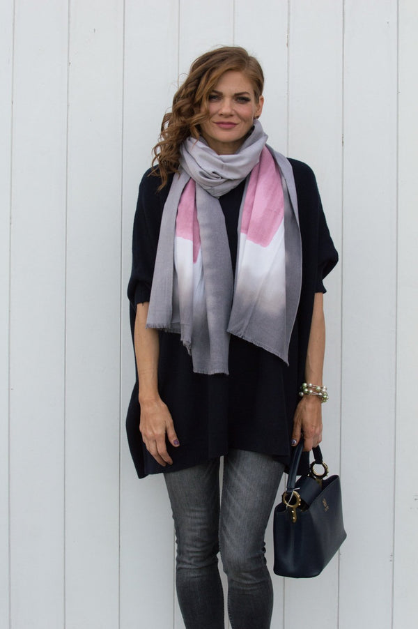Mauve and Grey Watercolour Cotton Scarf