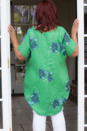 Green Floral Linen V- Neck Tunic