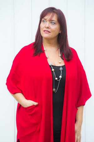 Red Ribbed Sleeveless Cardigan