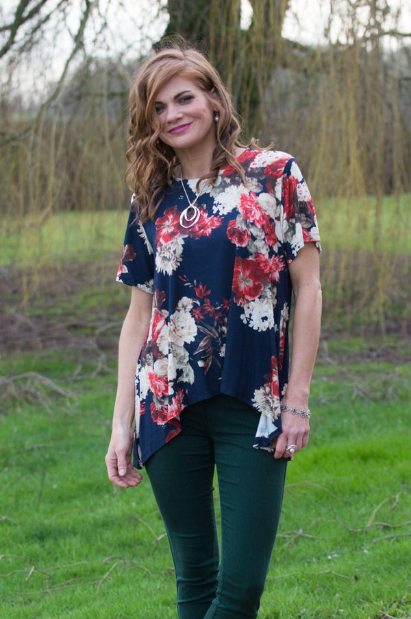 Navy Floral Print Waterfall Top